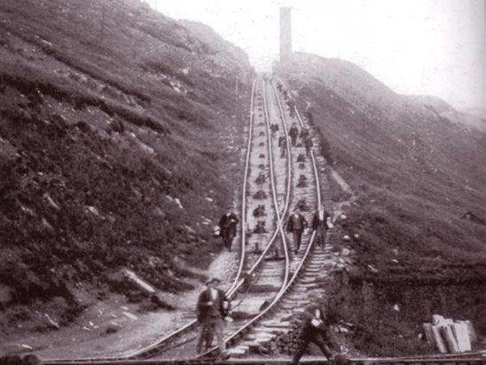 Facit Incline - workers descending main gauge incline.  Also clearly shows passing place.