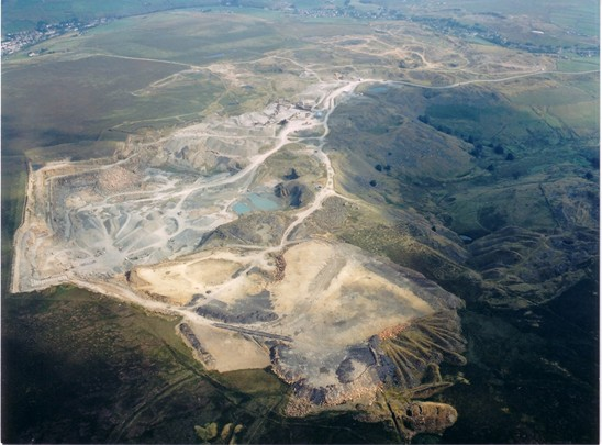 Aerial Photo showing scale of quarrying in Rossendale